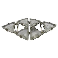 Vintage Czech Belt Buckle Made of Triangles of Cut Crystal