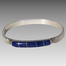 Sterling Silver Bangle With Five Inlaid Lapis Lazuli