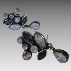 Sterling Silver Gemstone Clip On Earrings Stones include Labradorite and Amethyst