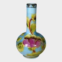 Vintage Hand Painted Enamelled Satin Glass Vase