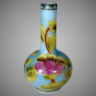 Vintage Hand Painted Enamelled Satin Glass Vase