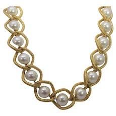 Vintage Napier Faux Pearls Encased In Brushed Goldtone Finish