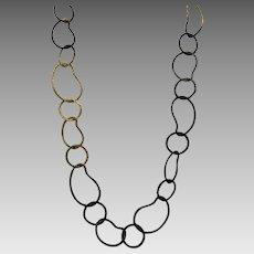 Vintage Open Link Two Tone Copper Necklace