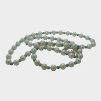 Artisan Cultured Pearl and Turquoise Necklace with Large Size Sterling Clasp