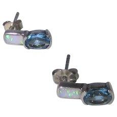 Sterling Silver Blue Topaz and Opal Pierced Earrings