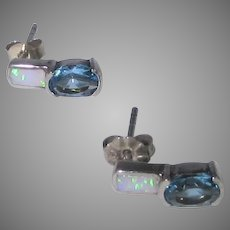 Sterling Silver Blue Topaz and Opal Pierced Earrings