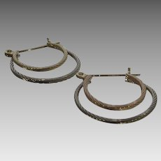 14 Karat White, Yellow and Rose Gold Double Hoop Pierced Earrings