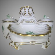 Herend Handpainted Double Inkwell In Chinese Bouquet Apponyi Green