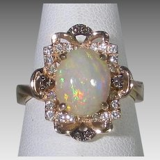 14 Karat Rose Gold Ring With Jelly Opal with White and Chocolate Diamond Accents by Le Vian