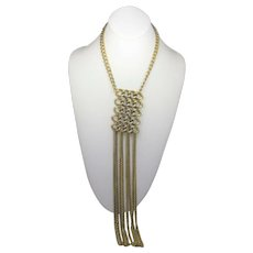"Statement Goldtone Necklace With 12"" Pendant on Goldtone Chain"