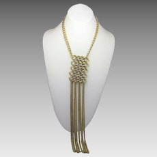 """Statement Goldtone Necklace With 12"""" Pendant on Goldtone Chain"""