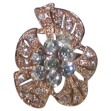 Copper Tone Costume Ring Decorated in Flower Form With Clear Crystals
