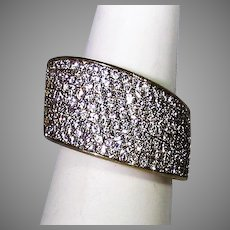 Sterling Silver Gold Wash Ring With Clear Pave Crystal Top