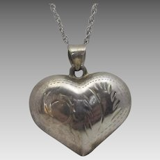 Sterling Silver Puffy Heart Pendant on a Sterling Silver Chain