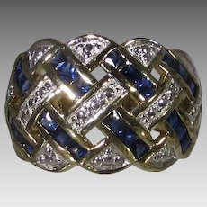 Sterling Silver Gold Wash Ring With Blue and Clear Crystals