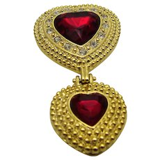 Vintage Goldtone Double Heart Pin With Large Red Crystal