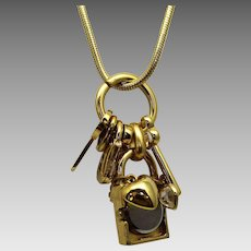 Vintage Carolee Goldtone Charm Necklace With Six Unique Charms