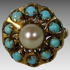 14 Karat Yellow Gold Persian Turquoise and Cultured Pearl Ring