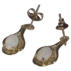 14 Karat Yellow Gold Opal Diamond Dangle Pierced Earrings
