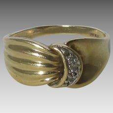 10 Karat Yellow Gold Modernist Diamond Ring