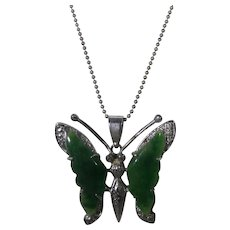 Vintage 18 Karat White Gold Plated Jadite Butterfly Pendant on a Sterling Silver Chain