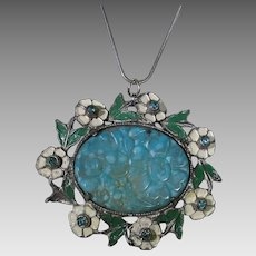 Vintage 1930's Carved Glass Pendant With Enamelled Flower Surround on a Sterling Silver Chain