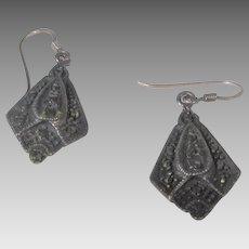 Sterling Silver Marcasite Pierced Earrings