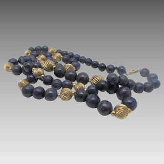 14 Karat Yellow Gold Lapis Lazuli and Yellow Gold Bead Necklace