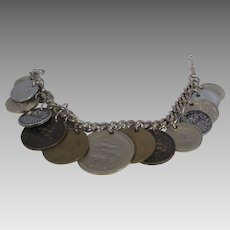 Vintage Coin Bracelet With Early British Empire, Austria and Bolivia