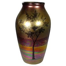 Weller Lasa Vase With Iridescent Tree Scene 1920-25