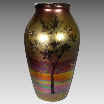 Weller Lasa Vase With Iridescent Tree Scene 1920-25