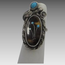 Sterling Silver Native American Ring With Tiger's Eye Center and Turquoise Accents