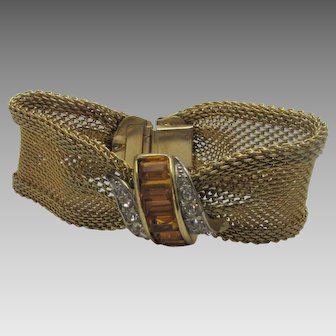 Vintage Designer Signed Goldtone Mesh Bracelet With Faux Citrine and Clear Crystal Accents