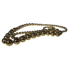 Vintage Napier Graduated Goldtone Bead Necklace