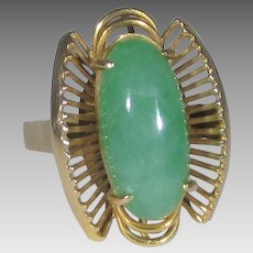 14 Karat Yellow Gold Jadite Deco Ring
