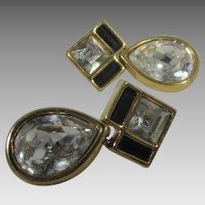 Vintage Signed Swarovski Goldtone Pierced Earrings With Sparkling Crystal