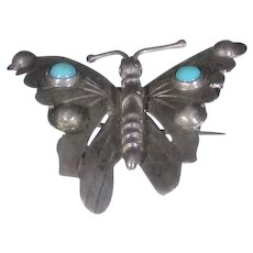Sterling Silver Butterfly Pin With Turquoise Accents