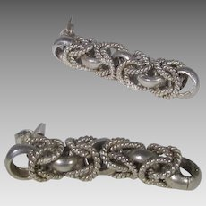 Sterling Silver Braided Earrings for Pierced Ears