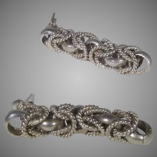 Sterling Silver Braided Earrings for Pierced Ears