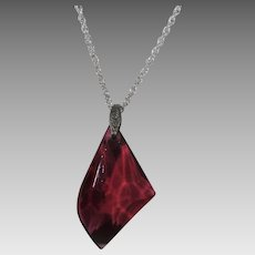 Vintage Cranberry Crystal Pendant on a Sterling Silver Chain
