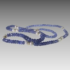 Tanzanite Bead Necklace With 14 Karat Clasp, Findings and Cultured Pearls