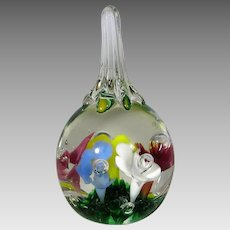 Glass St. Clair Paperweight Floral Theme Dated 1977