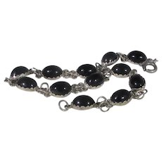 Sterling Silver Onyx Segment Bracelet