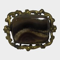 Victorian Brass Agate Pin With C Clasp