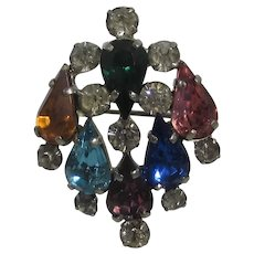 Vintage Signed Czecho Multi Color Crystal Pin