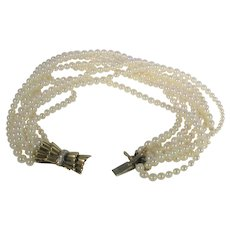 18 Karat Yellow Gold Cultured Pearl and Diamond Bracelet