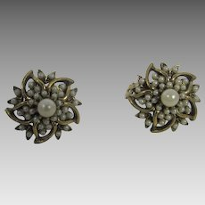 Vintage Signed Florenza Clip On Earrings With Faux Seed Pearls