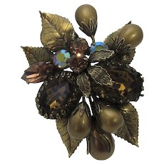 Vintage Signed Regency Pin In Bronze Tones and Faux Pearls