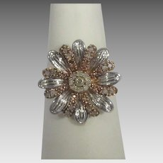 Sterling Silver and Rose Vermeil Ring with Tiny Diamond Accents