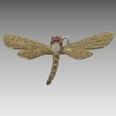 14 Karat Yellow Gold Dragonfly Pin Adorned With Fire Opal and Pin Topaz Head